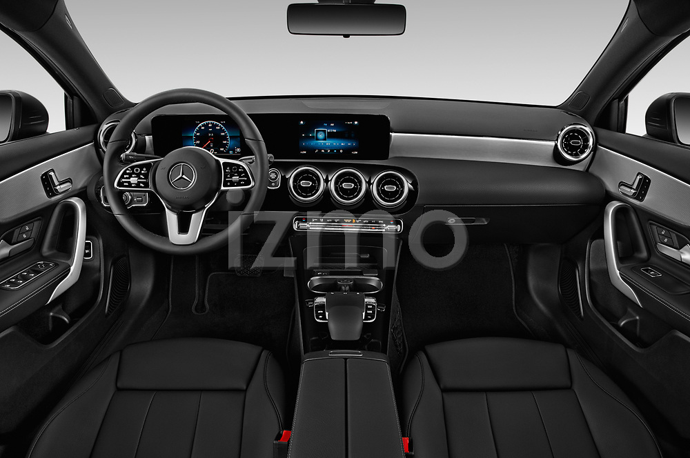 Stock photo of straight dashboard view of 2019 Mercedes Benz A-Class-Sedan A-220 4 Door Sedan Dashboard