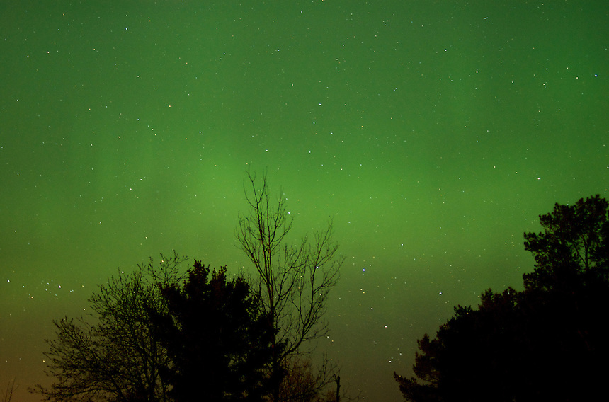 The Northern Lights were extremely visible this evening and provided a green glow across the sky. Marquette, MI