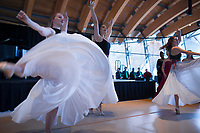 "NWA Democrat-Gazette/CHARLIE KAIJO Dancers Parker Ellyn Madlock (from left), Camila Holden and Liliana Boekhout perform, Sunday, December 1, 2019 during a Christmas concert at Crystal Bridges Museum of American Art in Bentonville.<br /> <br /> The Muses from Hot Springs performed for Voices of Angels, the 14th Annual Sacred Classical Christmas Concert. This sacred and classical music concert, with its celestial voices and festive dancing, is designed to transport audiences to a place of peace, joy, wonder, and hope, as ""a soothing balm for the soul"". This concert takes listeners through 400 years of poetic and musical inspiration, from traditional to contemporary, and festive to meditative, evoking the joy, majesty and beauty of the Christmas season."