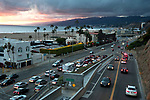 The California Incline joins the Pacific Coast HIghway in Santa Monica at sunset.