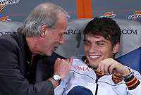 Calcio, Serie A: Roma vs Napoli. Roma, stadio Olimpico, 18 ottobre 2013.<br /> AS Roma sporting director Walter Sabatini, left, talks to forward Adem Ljajic, of Serbia, prior to the start of the Italian Serie A football match between AS Roma and Napoli at Rome's Olympic stadium, 18 October 2013.<br /> UPDATE IMAGES PRESS/Isabella Bonotto