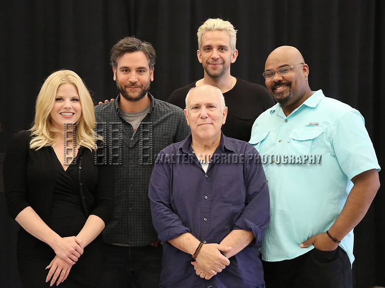 """Megan Hilty, Josh Radnor, Lee Wilkof, Nick Cordero and James Monroe Iglehart In Rehearsal for the Kennedy Center production of """"Little Shop of Horrors"""" on October 11 2018 at Ballet Hispanica in New York City."""