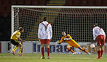 Iain Russell sends Kenny Arthur the wrong way from the penalty spot to seal a 3-1 victory for Livingston
