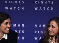 Russian punk band Pussy Riot members Nadezhda Tolokonnikova (L) and Maria Alekhina (R)  during a press conference as part of a human rights weekend in Amsterdam, Netherlands, Friday, Jan. 31, 2014. Tolokonnikova and Alekhina were released from prison last month after serving 21 months for hooliganism following their March 2012 arrest for giving an unauthorized performance in Christ The Savior Cathedral in Moscow, Russia. (Photo by Paulo Amorim)