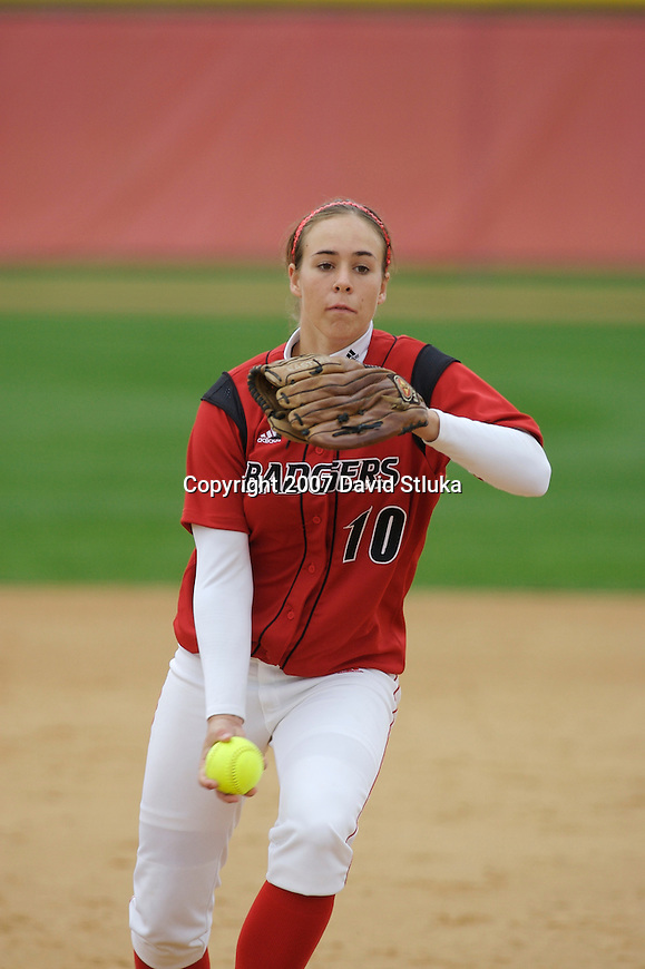 MADISON, WI - OCTOBER 13: Dana Rasmussen #10 of the Wisconsin Badgers softball team during the Red/White scrimmage at the Goodman Softball Complex on October 13, 2007 in Madison, Wisconsin. (Photo by David Stluka).