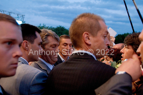 Domnesk, Ukraine.July 14, 2005 ..Ukrainian President Victor Yuschenko greets the crowds on an official visit to Domnesk..