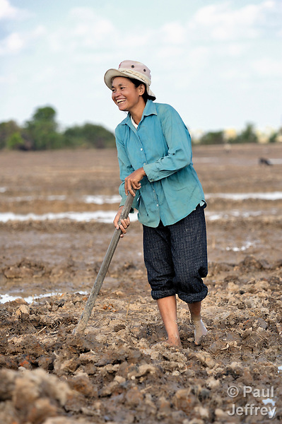Cheun Keng, a woman in the Cambodian village of Char, works in her rice field.