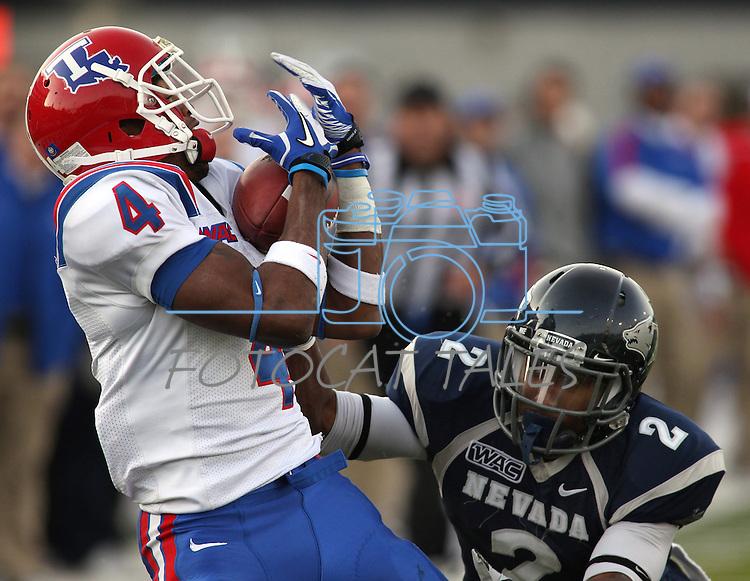 Louisiana Tech receiver Quinton Patton (4) makes a catch against Nevada defender Malik James (2) during the fourth quarter of an NCAA football game Saturday, Nov. 19, 2011, in Reno, Nev. Louisiana Tech won 24-20. (AP Photo/Cathleen Allison)