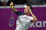 Kenta Nishioka (JPN), <br /> AUGUST 19, 2018 - Badminton : Men's Team round 16 at Gelora Bung Karno Istora during the 2018 Jakarta Palembang Asian Games in Jakarta, Indonesia. <br /> (Photo by MATSUO.K/AFLO SPORT)