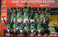 South Africa celebrate winning on Day Two of the 2017 HSBC World Sevens Series Wellington final match between South Africa and Fiji at Westpac Stadium in Wellington, New Zealand on Sunday, 29 January 2017. Photo: Simon Watts / lintottphoto.co.nz