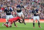 Alasdair Dickinson of Scotland avoids the tackle made by Dan Lydiate of Wales  - RBS 6Nations 2015 - Scotland  vs Wales - BT Murrayfield Stadium - Edinburgh - Scotland - 15th February 2015 - Picture Simon Bellis/Sportimage