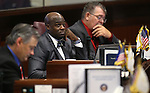 Nevada Sens., from left, James Settelmeyer, Kelvin Atkinson and Pete Goicoechea work on the Senate floor during the final day of the 77th Legislative session at the Legislative Building in Carson City, Nev., on Monday, June 3, 2013. <br /> Photo by Cathleen Allison