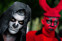 A young Salvadoran man with skull face paint takes part in the La Calabiuza parade at the Day of the Dead celebration in Tonacatepeque, El Salvador, 1 November 2016. The festival, known as La Calabiuza since the 90s of the last century, joins Salvador's pre-Hispanic heritage and the mythological figures (La Sihuanaba, El Cipitío, La Llorona etc.) collected from the whole Central American region, together with the catholic All Saints Day holiday and its tradition of honoring the dead relatives. Children and youths only, dressed up in scary costumes and carrying painted carts, march from the local cemetery to the downtown plaza where the party culminates with music, dance, drinking and eating pumpkin (Ayote) with honey.