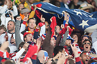 USA fans cheer the second goal during the second half of the 2010 World Cup match between the USA and Slovenia at Ellis Park Stadium in Johannesburg, South Africa on Friday, June 18, 2010.  The USA tied Slovenia 2-2.