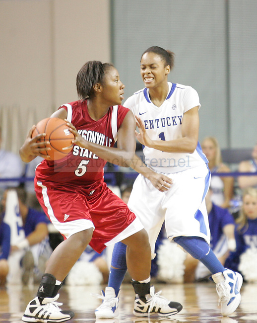UK guard A'dia Mathies guards Briana Morrow of Jacksonville State during the first half of UK's Women's basketball game against Jacksonville State in Lexington, Ky. on 11/15/11. Photo by Quianna Lige   Staff