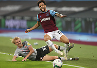 West Ham United's Felipe Anderson is challenged by Charlton Athletic's George Lapslie<br /> <br /> Photographer Rob Newell/CameraSport<br /> <br /> Carabao Cup Second Round Northern Section - West Ham United v Charlton Athletic - Tuesday 15th September 2020 - London Stadium - London <br />  <br /> World Copyright © 2020 CameraSport. All rights reserved. 43 Linden Ave. Countesthorpe. Leicester. England. LE8 5PG - Tel: +44 (0) 116 277 4147 - admin@camerasport.com - www.camerasport.com