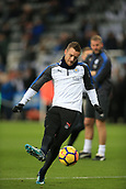 9th December 2017, St James Park, Newcastle upon Tyne, England; EPL Premier League football, Newcastle United versus Leicester City; Jamie Vardy of Leicester City shoots during the warm up
