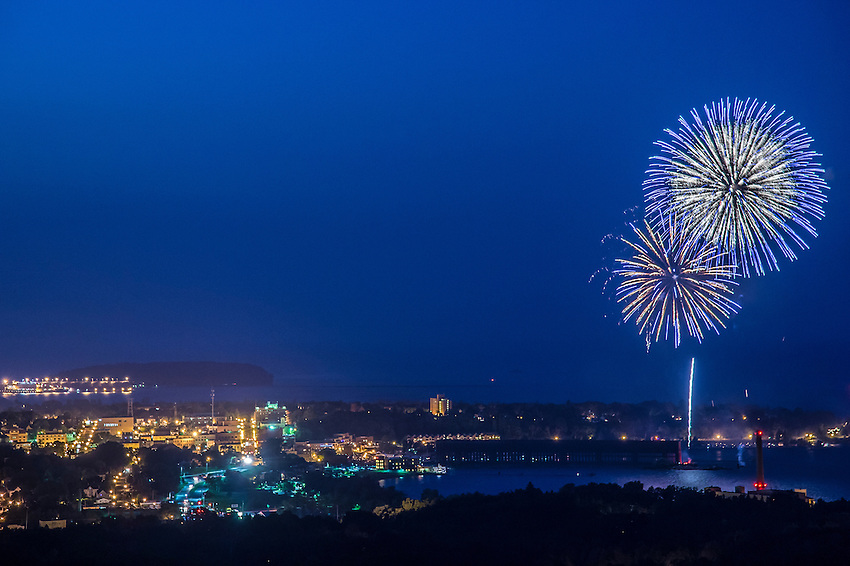 Fireworks over Lake Superior in Marquette, Michigan.