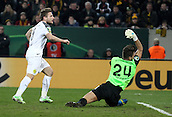 03.03.2015. Glucksgas Stadium, Dresden, Germany. DFB Cup football. Dynamo Dresden versus Borussia Dortmund.  Goalkeeper Patrick Wiegers (Dresden) beaten by the goal for 0:1 from Ciro Immobile (Dortmund)<br />