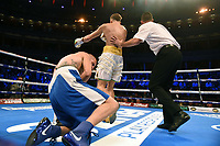 Dennis McCann (white shorts) defeats Georgi Georgiev during a Boxing Show at the Royal Albert Hall on 27th September 2019