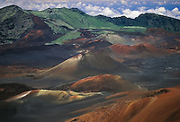 Multiple lava cinder cones in the crater represent the unique beauty of HALEAKALA NATIONAL PARK on Maui in Hawaii