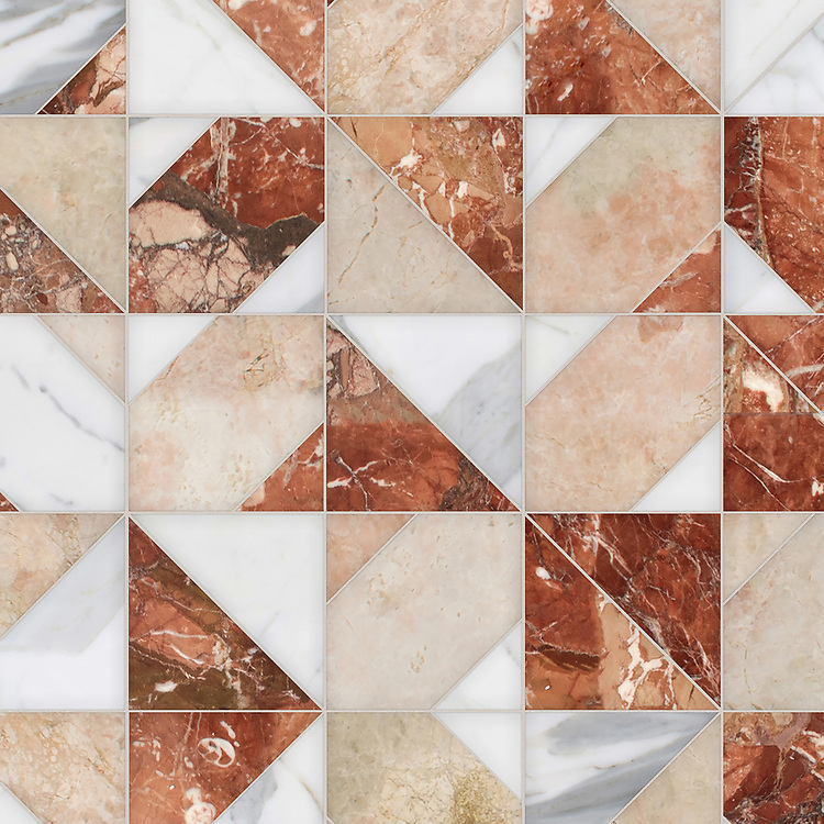 Axel, a hand-cut stone mosaic, shown in polished Calacatta Gold, Breccia Pernice, and Desert Pink, is part of the Semplice® collection for New Ravenna.