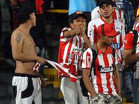 BOGOTA - COLOMBIA - 28-11-2015: Hinchas de Atletico Junior, animan a su equipo durante partido por los cuartos de final partido de ida entre Independiente Santa Fe y Atletico Junior, de la Liga Aguila II-2015, en el estadio Nemesio Camacho El Campin de la ciudad de Bogota.  / Fans of Atletico Junior, cheer for their team, during a match of quarter finals first round between Independiente Santa Fe and Atletico Junior, for the Liga Aguila II -2015 at the Nemesio Camacho El Campin Stadium in Bogota city, Photo: VizzorImage / Luis Ramirez / Staff.