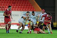 Sean Reidy of Ulster is tackled by Phil Price of Scarlets during the Guinness Pro14 Round 09 match between the Scarlets and Ulster Rugby at the Parc Y Scarlets Stadium in Llanelli, Wales, UK. Friday 23 November 2018