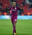 Fabian Delph of Manchester City celebrates at the end of the premier league match at the Wembley Stadium, London. Picture date 14th April 2018. Picture credit should read: Robin Parker/Sportimage