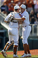 Texas Longhorns pitcher Corey Knebel #29 celebrates defeating the Oklahoma Sooners in the NCAA baseball game on April 6, 2013 at UFCU DischFalk Field in Austin, Texas. The Longhorns defeated the rival Sooners 1-0. (Andrew Woolley/Four Seam Images).