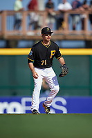 Pittsburgh Pirates second baseman Max Moroff (71) during a Spring Training game against the Boston Red Sox on March 9, 2016 at McKechnie Field in Bradenton, Florida.  Boston defeated Pittsburgh 6-2.  (Mike Janes/Four Seam Images)