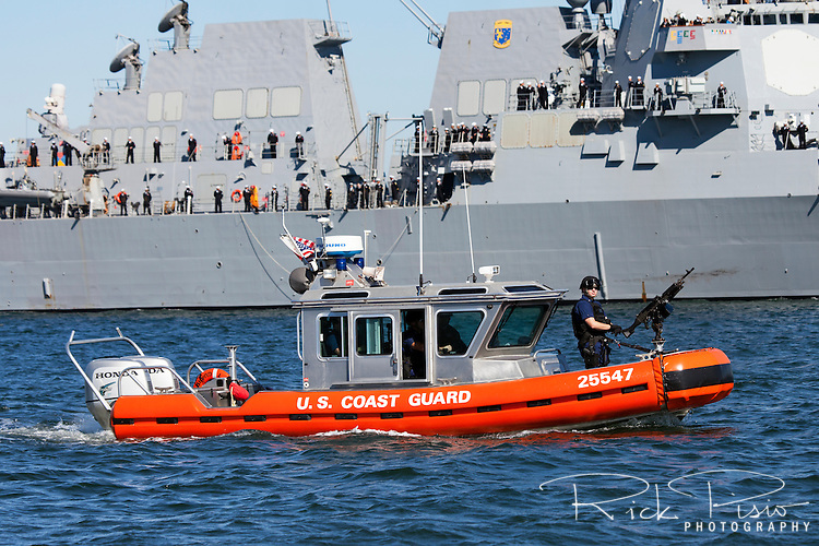 Defender Class Response Boat (RB-S) Protecting Navy Destroyer
