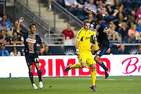 Josh Williams (3) of the Columbus Crew and Gabriel Gomez (6) of the Philadelphia Union. The Columbus Crew defeated the Philadelphia Union 2-1 during a Major League Soccer (MLS) match at PPL Park in Chester, PA, on August 29, 2012.