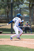 AZL Dodgers left fielder Frank Sanchez (8) follows through on his swing during an Arizona League game against the AZL Padres 2 at Camelback Ranch on July 4, 2018 in Glendale, Arizona. The AZL Dodgers defeated the AZL Padres 2 9-8. (Zachary Lucy/Four Seam Images)