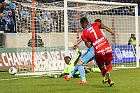 HARRISON, NJ - FEBRUARY 26: Sean Johnson #1 of NYCFC deflects the shot of Jorman Aguilar #7 of AD San Carlos during a game between AD San Carlos and NYCFC at Red Bull on February 26, 2020 in Harrison, New Jersey.