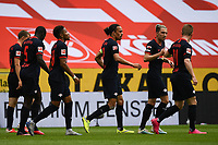 24th May 2020, Opel Arena, Mainz, Rhineland-Palatinate, Germany; Bundesliga football; Mainz 05 versus RB Leipzig; Yussuf Poulsen (RB Leipzig), Kevin Kampl (RB Leipzig), Timo Werner (RB Leipzig) celebrate the goal for 1-0 from Werner in the 11th minute