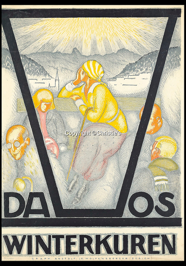 BNPS.co.uk (01202 558833)<br /> Pic: Christie's/BNPS<br /> <br /> Burkhard Mangold (1873-1950), DAVOS, estimate: £18,000.<br /> <br /> A stunning collection of advertising posters seized by Nazi Josef Goebbels are tipped to sell for £200,000 after a 50 year fight to have them returned to the family of the Jewish owner.<br /> <br /> Dr Hans Sachs was a German-born Jewish dentist in Berlin when he was detained by the Gestapo and his collection of 12,500 lithograph prints were confiscated by the propaganda minister so they could be housed in a museum.<br /> <br /> His family discovered in 2005 that the collection had survived and managed to recover it. A hundred of the posters are now being sold by Christie's in London.