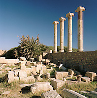 Roman Columns at the ruined Roman city of Leptis Magna, Libya