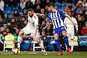 3rd February 2019, Santiago Bernabeu, Madrid, Spain; La Liga football, Real Madrid versus Alaves; Karim Benzema (Real Madrid) takes on Maripán (alv)