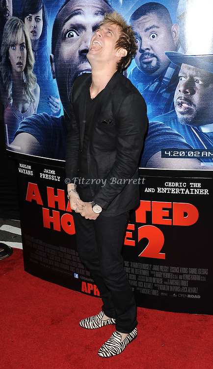 Aaron Carter arriving at 'A Haunted House 2 Los Angeles Premiere' held at Regal Cinemas L.A. Live Los Angeles, CA. April 16, 2014.