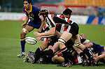 Andrew Van der Heijden passes from a ruck during the Air NZ Cup game between Counties Manukau & Otago played at Mt Smart Stadium,Auckland on the 29th of July 2006. Otago won 23 - 19.
