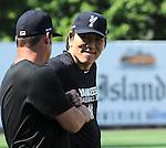 Hideki Matsui,<br /> JULY 6, 2013 - Baseball :<br /> Former New York Yankee Hideki Matsui throws batting practice for the Staten Island Yankees at Richmond County Bank Ballpark in Staten Island, New York, United States. (Photo by AFLO)