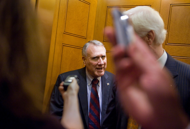 UNITED STATES - JUNE 23:  Senate Minority Whip Jon Kyl, R-Ariz., is questioned by reporters after a vote in the Capitol.  Kyl has pulled out of the debt talks led by Vice President Joe Biden.  (Photo By Tom Williams/Roll Call)