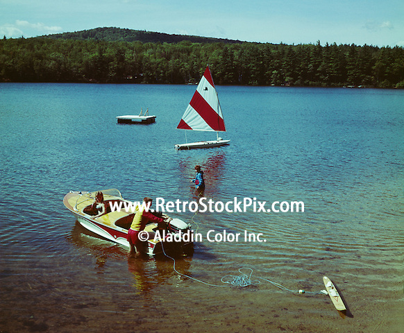 Lake George waterskiing and sailing in the 1960's