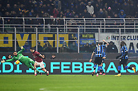 9th February 2020, Milan, Italy; Serie A football, AC Milan versus Inter-Milan;  The goal is cored by Matias Vecino  of AC Milan past keeper Padelli of Inter