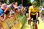 Race leader Yellow Jersey Greg Van Avermaet (BEL) BMC Racing Team arrives at sign on before the start of Stage 4 of the 2018 Tour de France running 195km from La Baule to Sarzeau, France. 10th July 2018. <br /> Picture: ASO/Alex Broadway | Cyclefile<br /> All photos usage must carry mandatory copyright credit (&copy; Cyclefile | ASO/Alex Broadway)