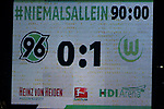 28.01.2018, HDI Arena, Hannover, GER, 1. Bundesliga, Hannover 96 - VfL Wolfsburg, im Bild Endstand Anzeigetafel<br /> <br /> Foto &copy; nordphoto / Dominique Leppin