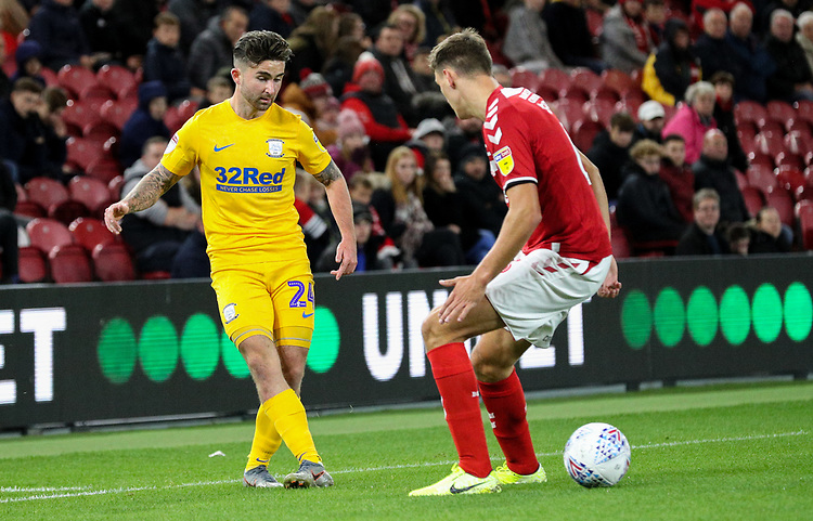 Preston North End's Sean Maguire plays a ball past Middlesbrough's Dael Fry<br /> <br /> Photographer Alex Dodd/CameraSport<br /> <br /> The EFL Sky Bet Championship - Middlesbrough v Preston North End - Tuesday 1st October 2019  - Riverside Stadium - Middlesbrough<br /> <br /> World Copyright © 2019 CameraSport. All rights reserved. 43 Linden Ave. Countesthorpe. Leicester. England. LE8 5PG - Tel: +44 (0) 116 277 4147 - admin@camerasport.com - www.camerasport.com