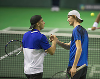 Rotterdam, Netherlands, 11 februari, 2017, ABNAMROWTT,   Doubles Qualyfying round,  Tallon Griekspoor (NED) (L) and Niels Lootsma (NED) celebrate their win<br /> Photo: Henk Koster