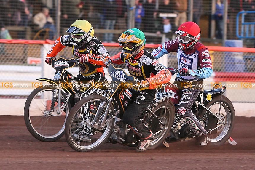 Heat 11: Fredrik Lindgren (green), Nicolai Klindt (yellow) and Joonas Kylmakorpi - Sky Sports Elite League Speedway at Arena Essex Raceway, Purfleet, Essex - 24/06/09- MANDATORY CREDIT: Gavin Ellis/TGSPHOTO - Self billing applies where appropriate - 0845 094 6026 - contact@tgsphoto.co.uk - NO UNPAID USE.
